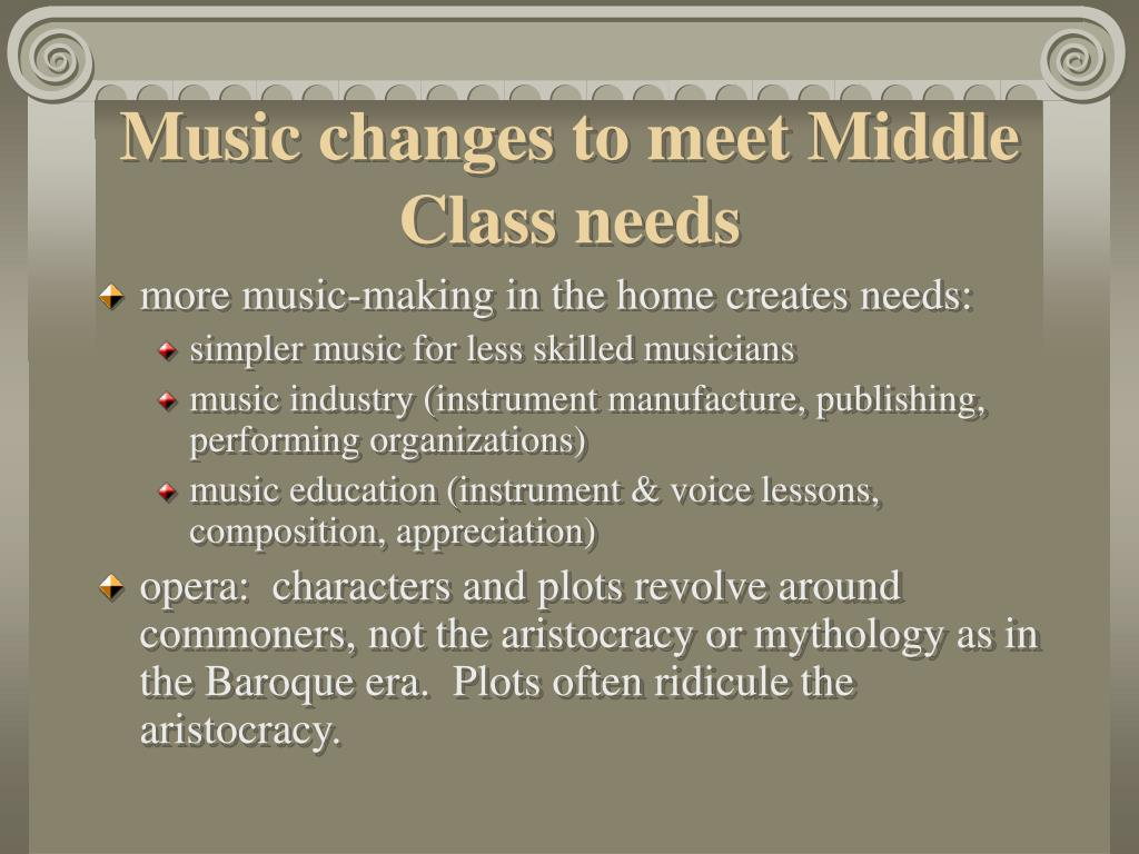 Music changes to meet Middle Class needs