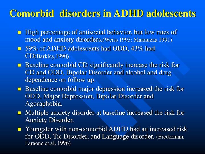 Comorbid  disorders in ADHD adolescents