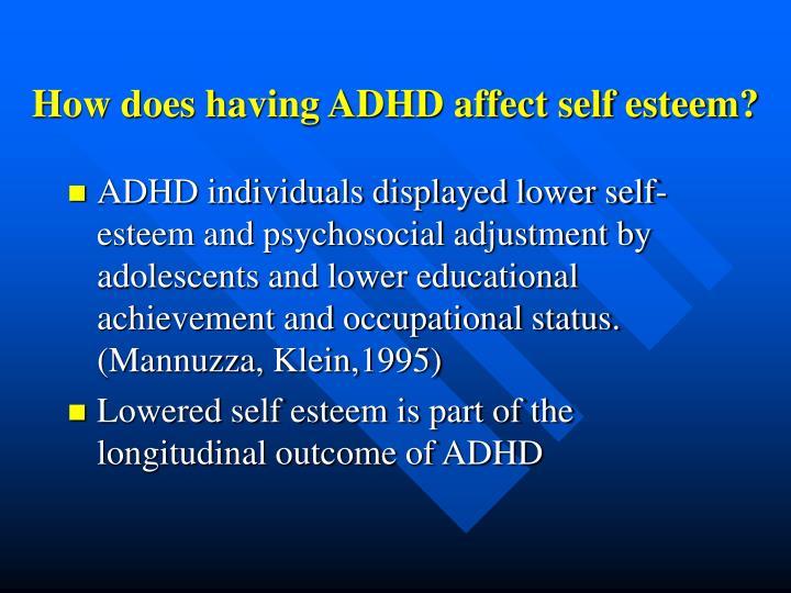 How does having ADHD affect self esteem?