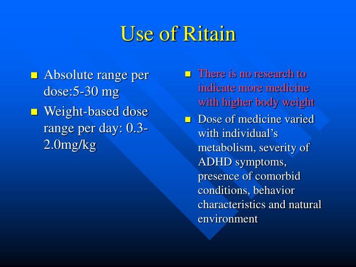 Absolute range per dose:5-30 mg