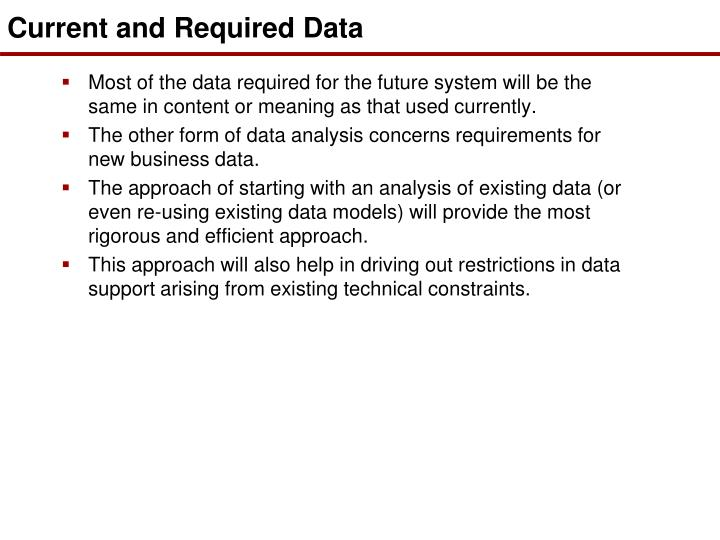 Current and Required Data