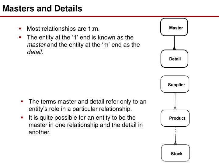 Masters and Details