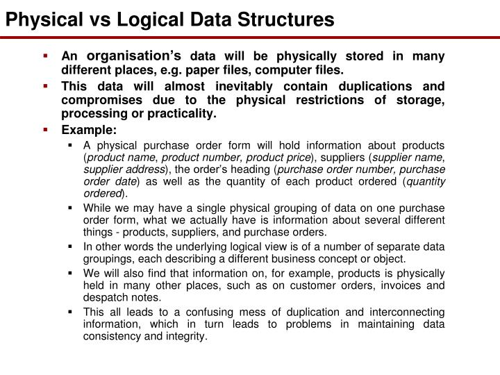 Physical vs Logical Data Structures