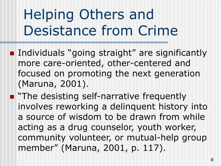 Helping Others and Desistance from Crime