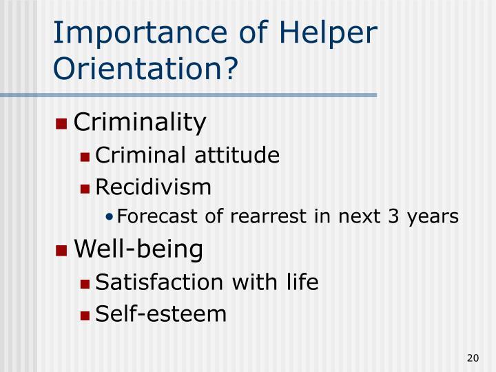 Importance of Helper Orientation?