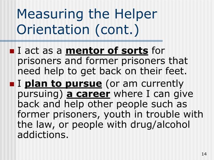 Measuring the Helper Orientation (cont.)