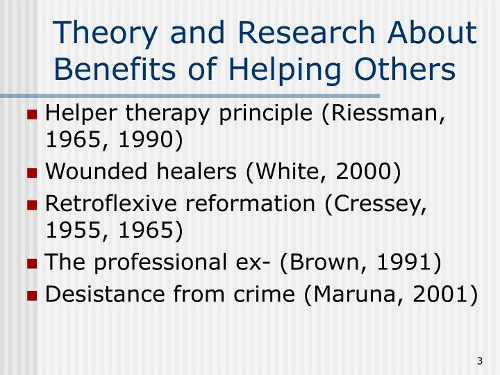 Theory and Research About Benefits of Helping Others