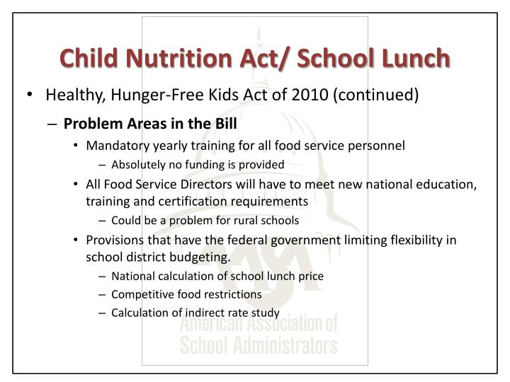 Child Nutrition Act/ School Lunch