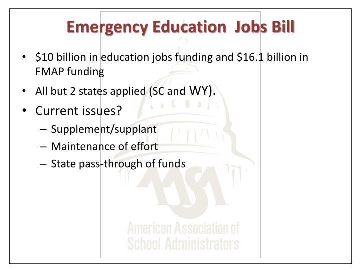 Emergency Education  Jobs Bill