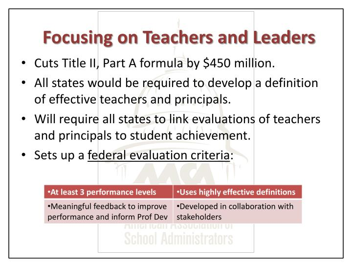 Focusing on Teachers and Leaders