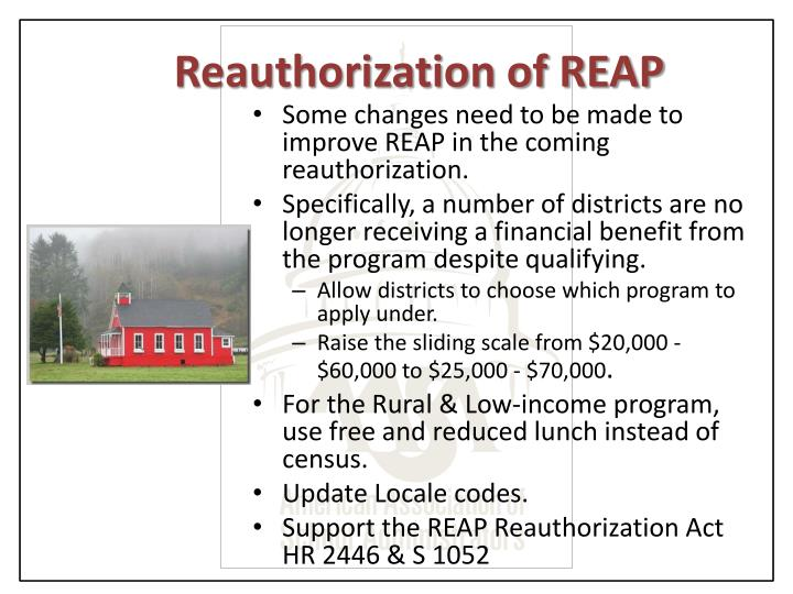 Reauthorization of REAP