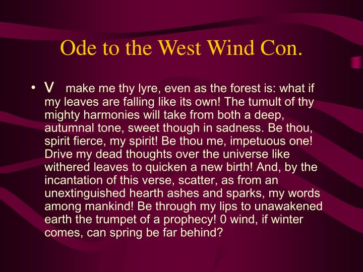 Ode to the West Wind Con.