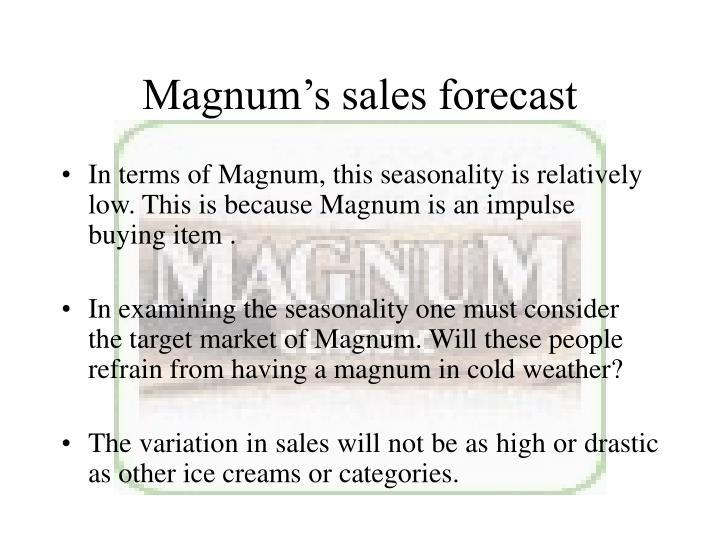 Magnum's sales forecast