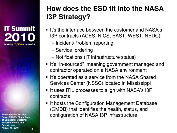 How does the ESD fit into the NASA I3P Strategy?