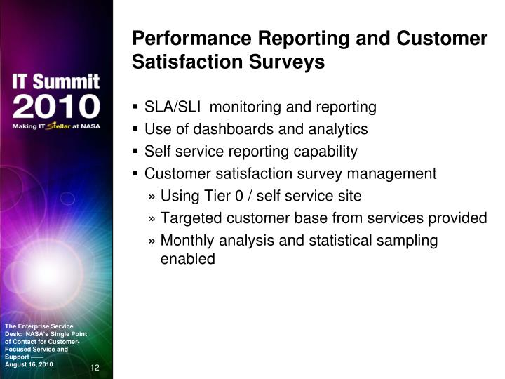 Performance Reporting and Customer Satisfaction Surveys