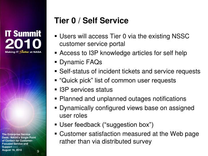 Tier 0 / Self Service