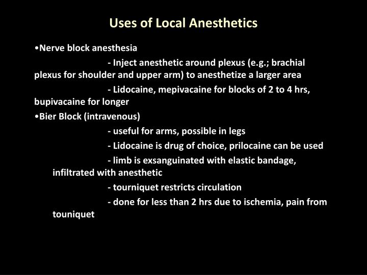 Uses of Local Anesthetics
