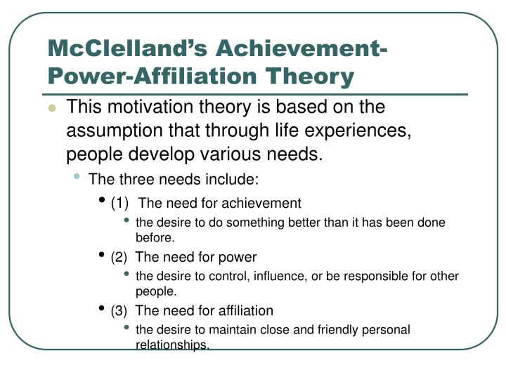 McClelland's Achievement-Power-Affiliation Theory