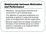 relationship between motivation and performance