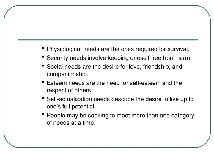 Physiological needs are the ones required for survival.