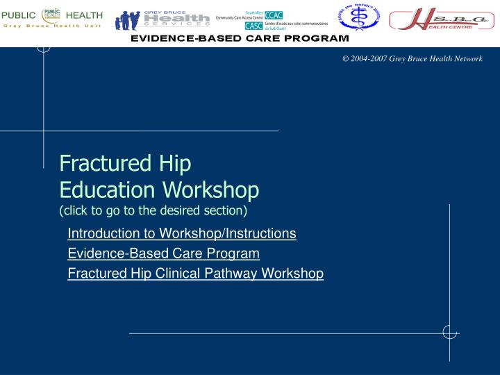 Fractured hip education workshop click to go to the desired section