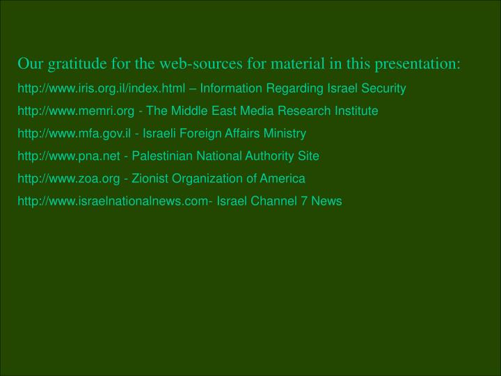 Our gratitude for the web-sources for material in this presentation: