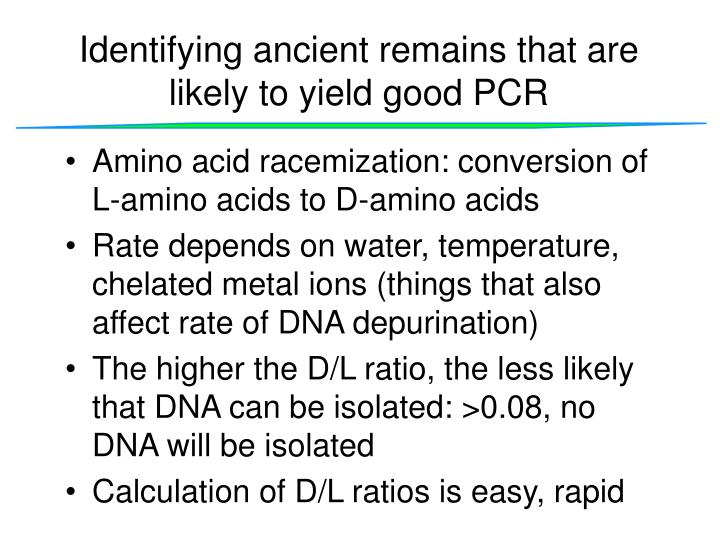 Identifying ancient remains that are likely to yield good PCR