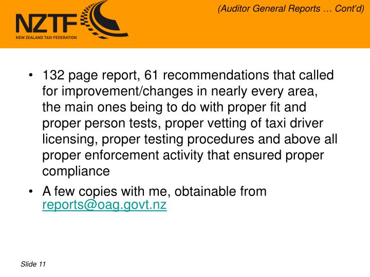 (Auditor General Reports … Cont'd)