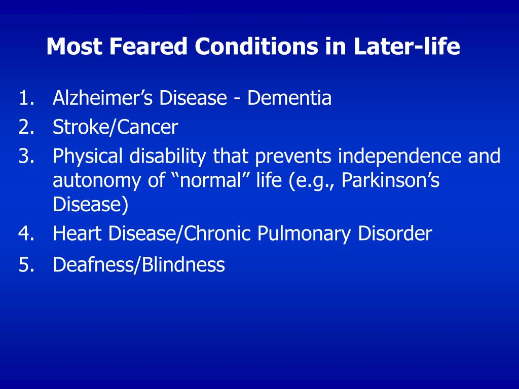 Most Feared Conditions in Later-life