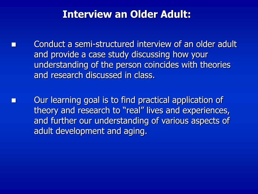 Interview an Older Adult:
