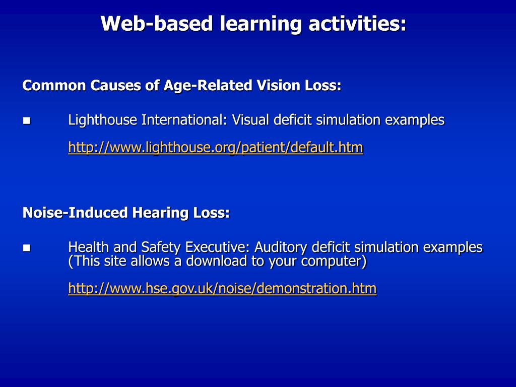 Web-based learning activities: