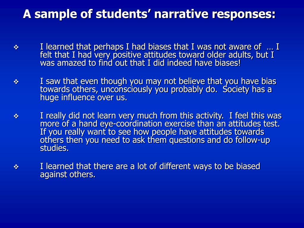 A sample of students' narrative responses: