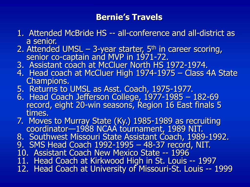 Bernie's Travels