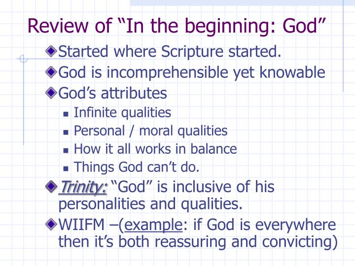 """Review of """"In the beginning: God"""""""
