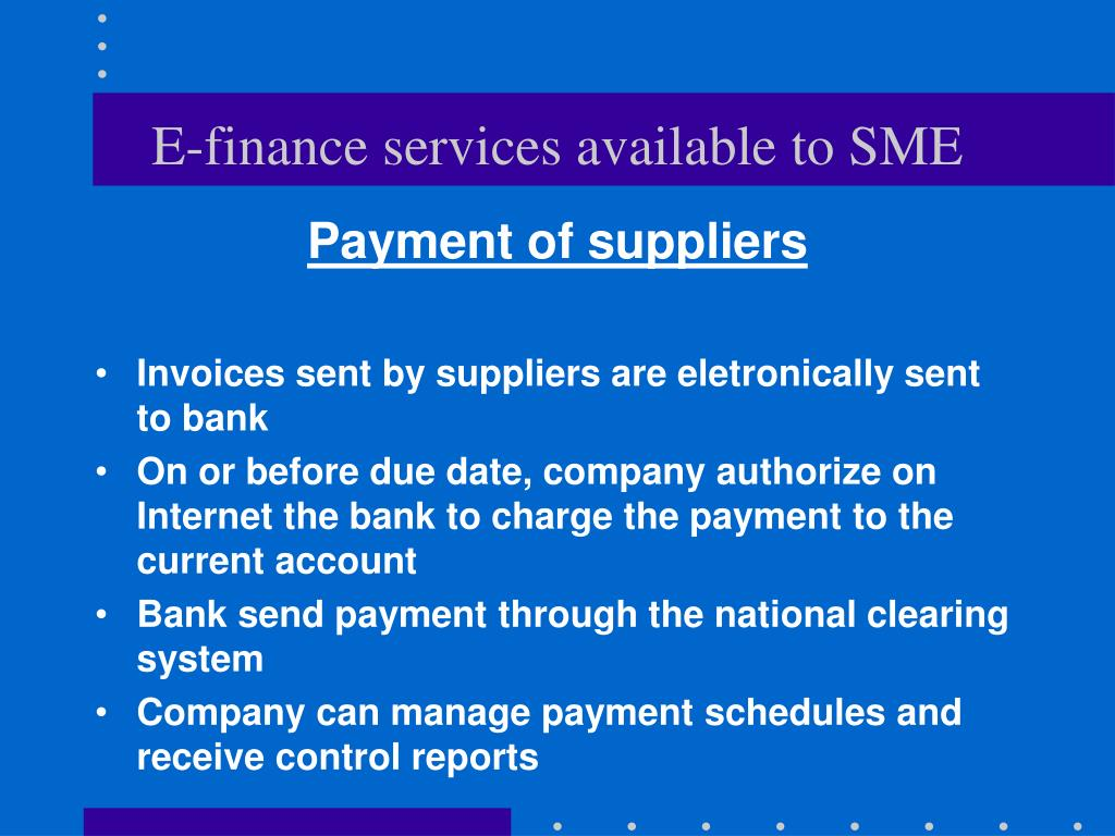 E-finance services available to SME