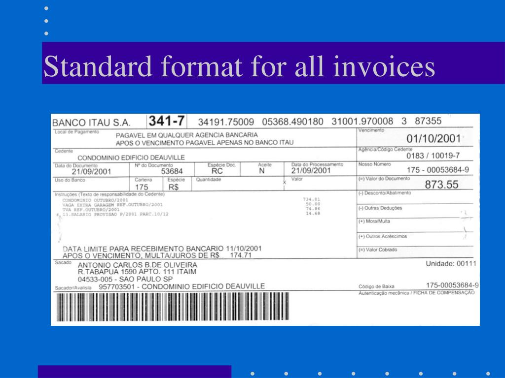 Standard format for all invoices