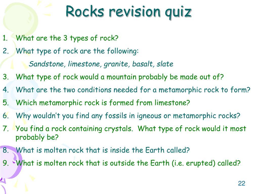 Rocks revision quiz
