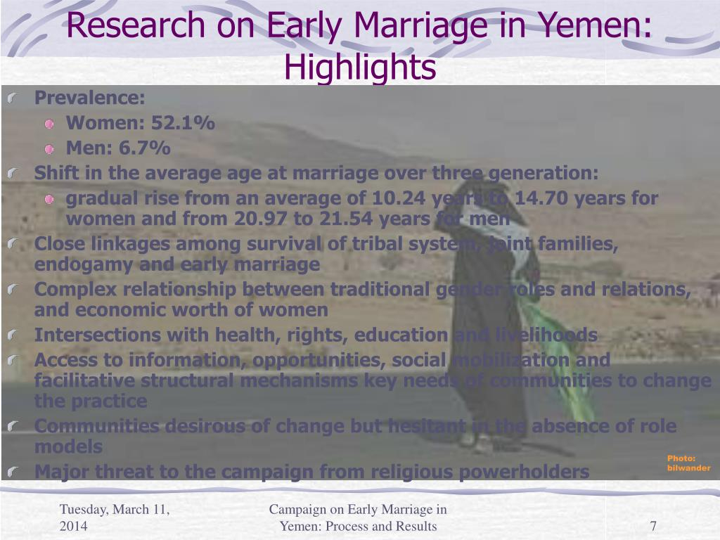 Research on Early Marriage in Yemen: Highlights