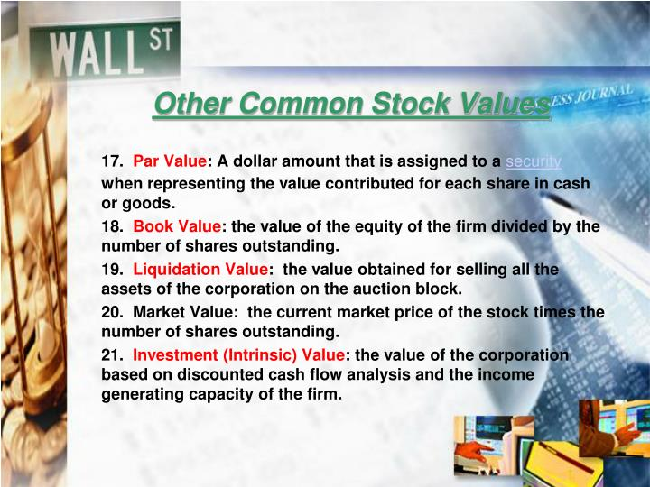 Other Common Stock Values