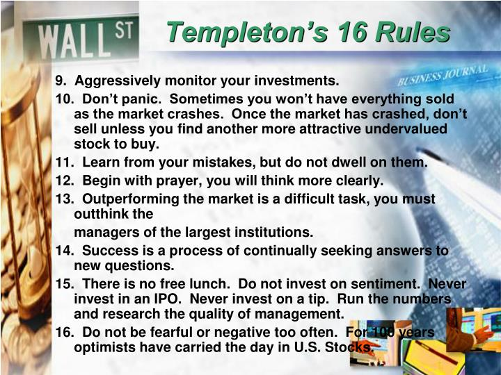 Templeton's 16 Rules