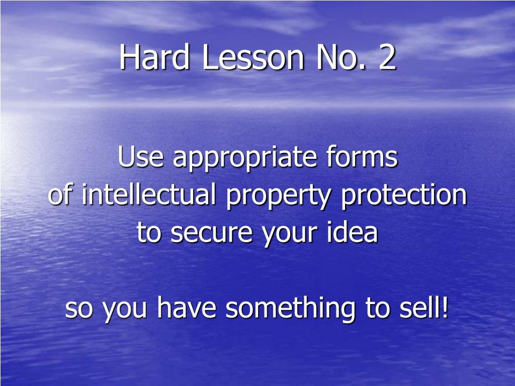 Hard Lesson No. 2
