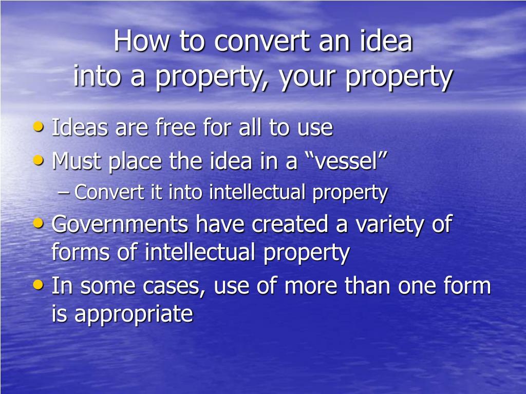 How to convert an idea