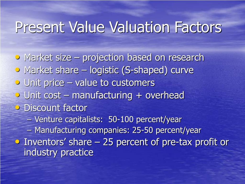 Present Value Valuation Factors