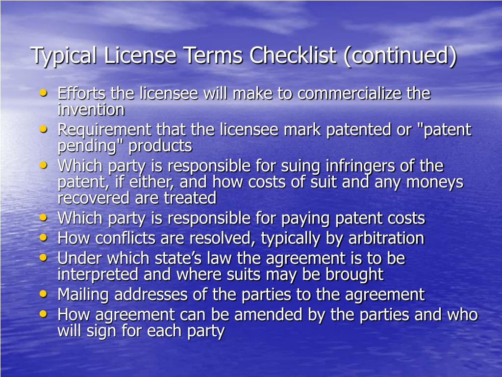 Typical License Terms Checklist (continued)