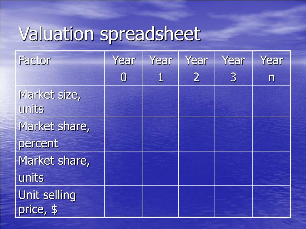 Valuation spreadsheet