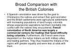 broad comparison with the british colonies