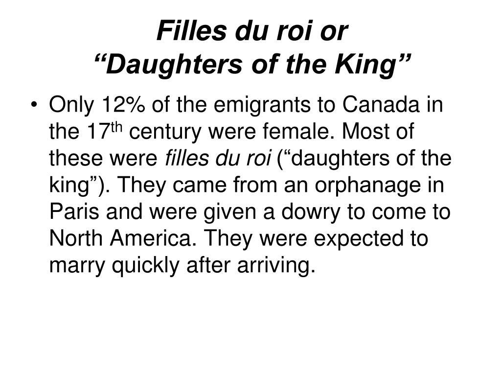 Filles du roi or