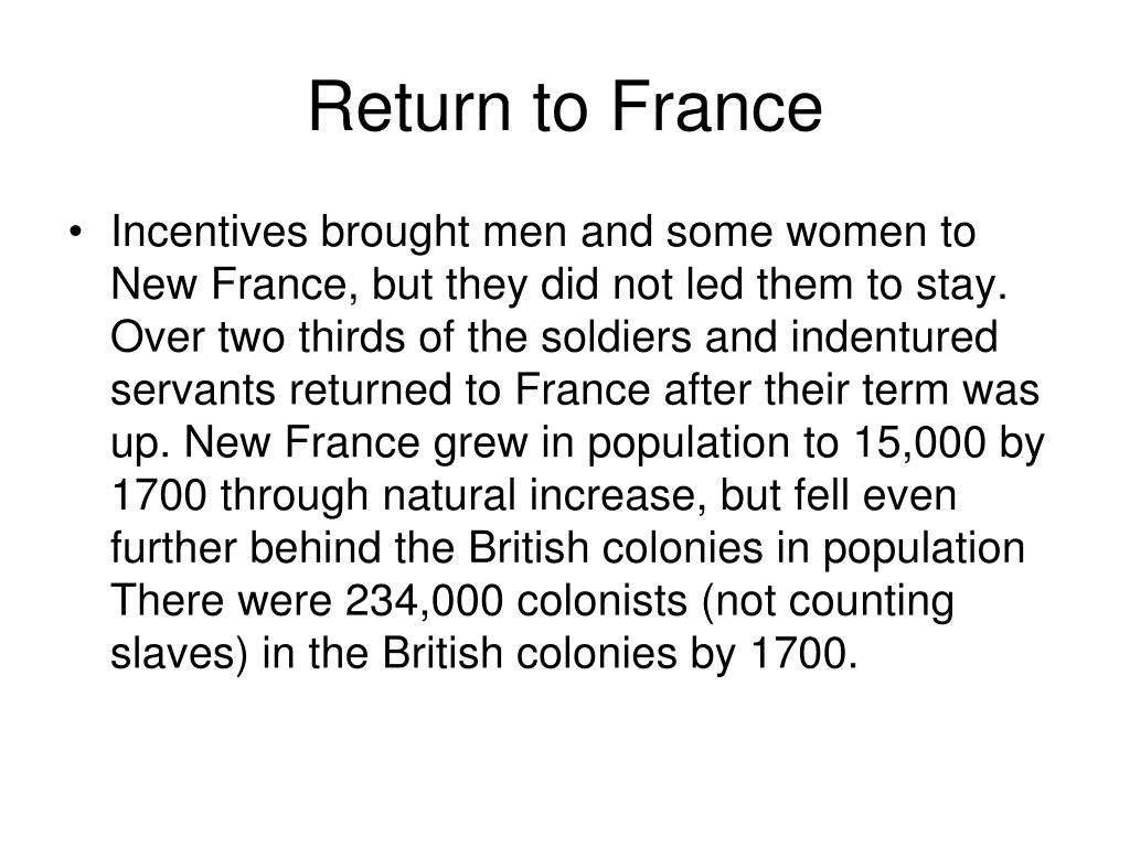 Return to France