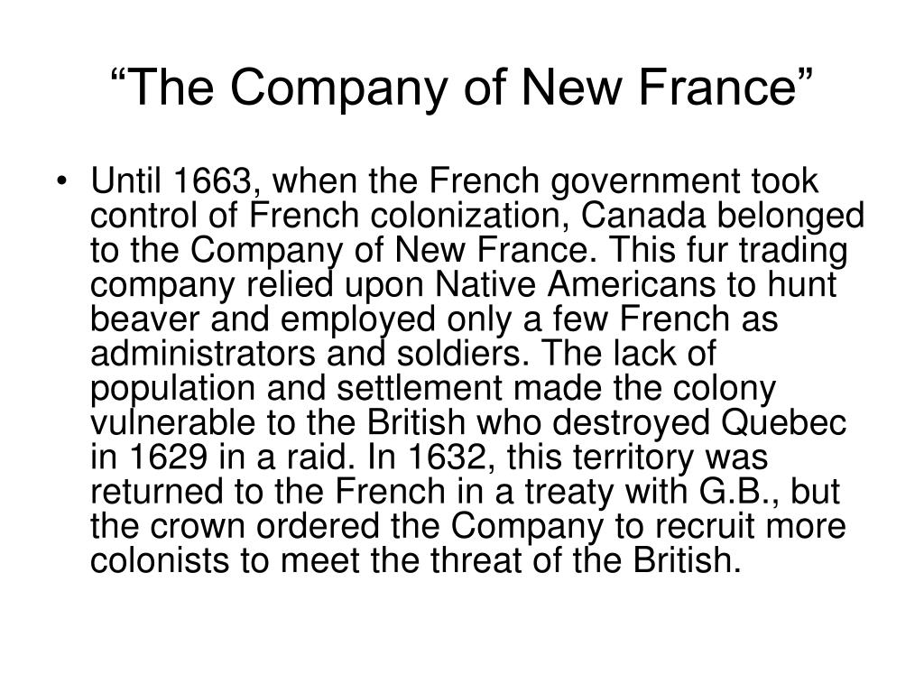 """The Company of New France"""