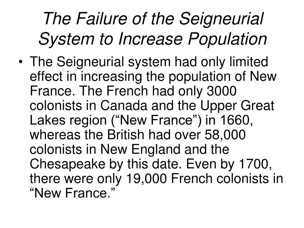 The Failure of the Seigneurial System to Increase Population